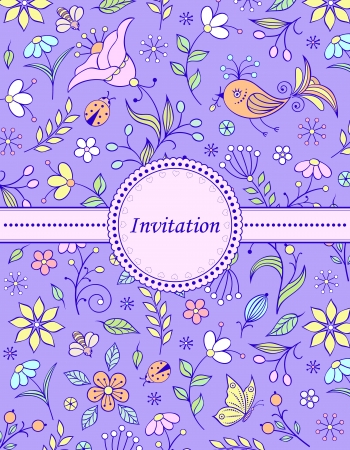 illustration of  colorful hand drawn floral invitation card ( or place your text) Stock Vector - 17512916