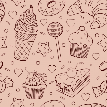 cream pie: illustration of seamless pattern of sweets