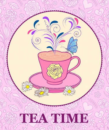 animal time: illustration of  bright cup of tea on pink floral background Illustration