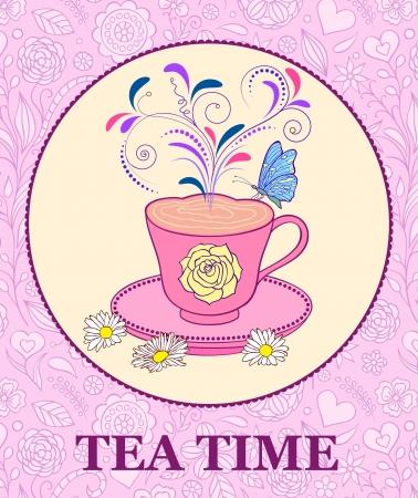 chamomile tea: illustration of  bright cup of tea on pink floral background Illustration
