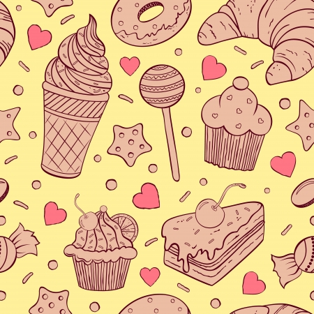 illustration of seamless pattern of sweets Vector
