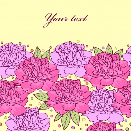 peonies: illustration of  pattern with hand drawn peonies flowers Illustration