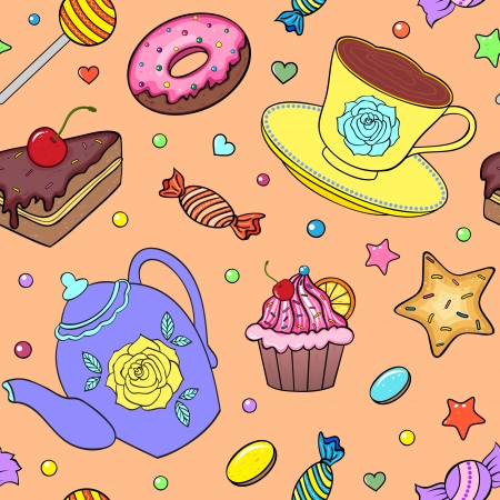 illustration of seamless pattern with sweets, teapot and cup Vector