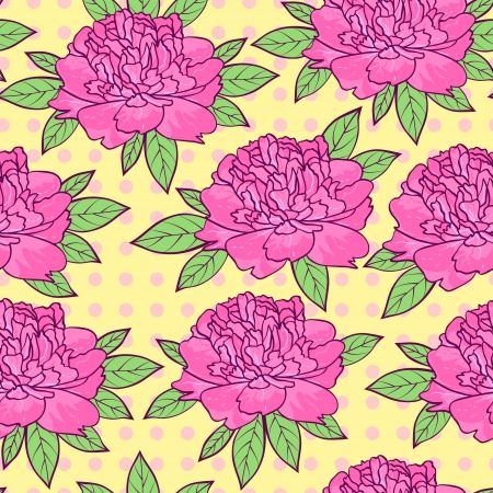 illustration of colorful seamless pattern with peonies flowers Vector