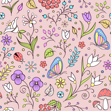 illustration of seamless pattern with abstract flowers. It can  be used for web page background,surface textures,textile industry and others. Vector