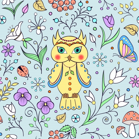 bettle: illustration of seamless pattern with cute owl and abstract flowers