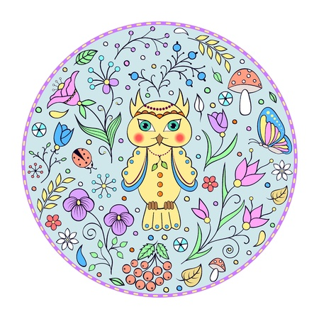 bettle: illustration of cute owl and floral pattern. It can be used for production of childrens plates