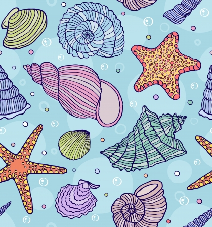 cockleshell: illustration of seamless pattern with ocean shells