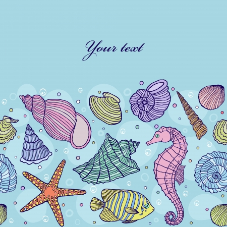 sea star: illustration of seamless pattern with ocean shells.Underwater world