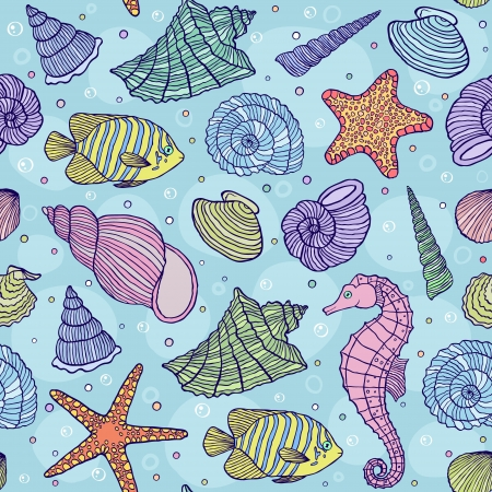 bubles: illustration of seamless pattern with ocean shells.Underwater world