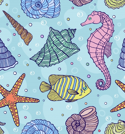 illustration of seamless pattern with ocean shells Stock Vector - 17754161