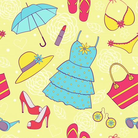 brassiere: Vector illustration of seamless pattern with colorful  summer women
