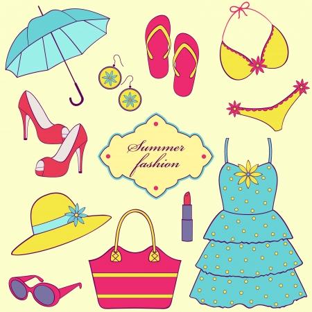 bathing suit: Vector illustration of a set of summer women