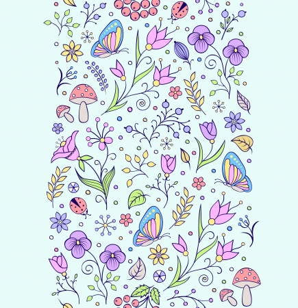 Vector illustration of seamless pattern with abstract flowers  Floral backround  Vector