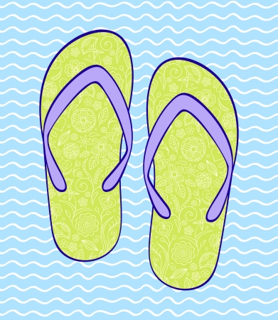 Vector illustration of flip-flop on blue wavy backround Stock Vector - 17898712