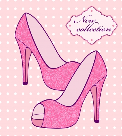 female pink: Vector illustration of female pink shoes with floral pattern
