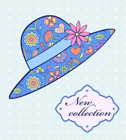 panama: Vector illustration of summer female hat on blue background
