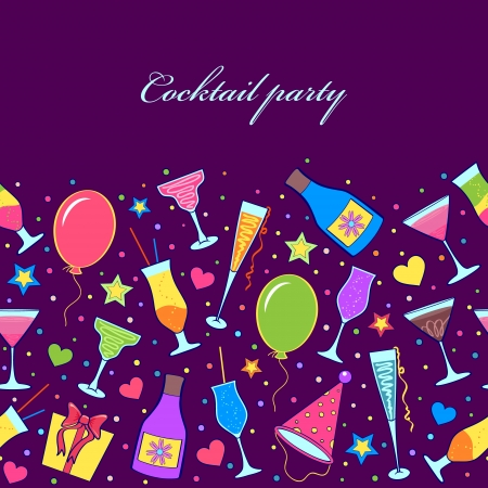 Vector illustration of colorful seamless with different cocktails. Vector