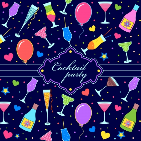 party drinks: Vector illustration of colorful festive invitation