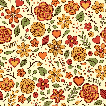 Vector illustration of seamless pattern with abstract flowers.Floral background Stock Vector - 17898724