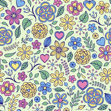 Vector illustration of seamless pattern with abstract flowers.Floral background Stock Vector - 17898722