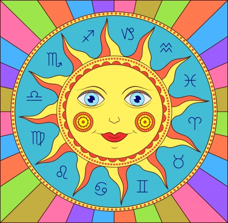 illustration of abstract sun with  zodiac signs Vector