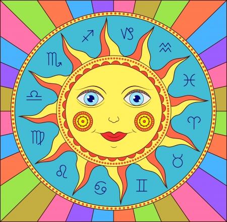 illustration de soleil abstrait avec des signes du zodiaque