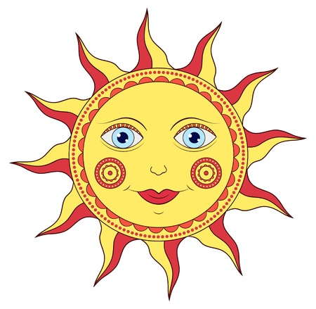 solstice: illustration of abstract cartoon sun on white background
