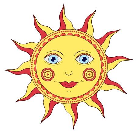 illustration of abstract cartoon sun on white background Stock Vector - 18023022