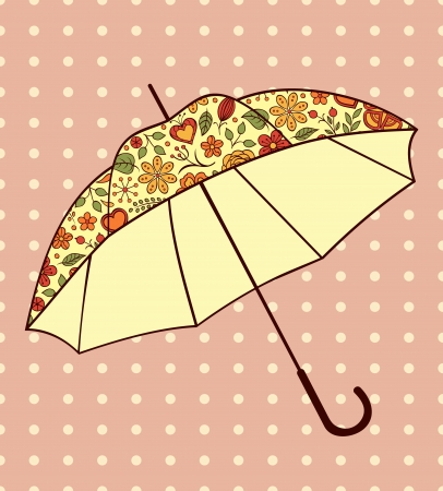 illustration of umbrella with floral pattern Vector