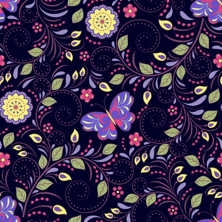 Vector illustration of seamless pattern with abstract flowers and butterflies.Floral background. It can be used for web page background,surface textures,textile industry and others. Stock Vector - 18095816