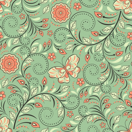 textile industry: Vector illustration of seamless pattern with abstract flowers and butterflies.Floral background. It can be used for web page background,surface textures,textile industry and others.