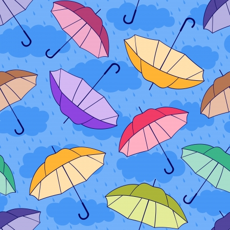 Vector illustration of seamless pattern with colorful umbrellas