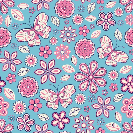 illustration of seamless pattern with abstract flowers and butterflies.Floral background. It can be used for web page background,surface textures,textile industry and others. Stock Vector - 18150526