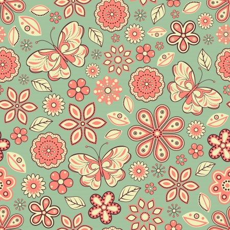illustration of seamless pattern with abstract flowers and butterflies.Floral background. It can be used for web page background,surface textures,textile industry and others. Vector