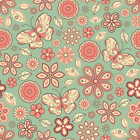 industria tessile: illustrazione del modello senza saldatura con fiori astratti e sfondo butterflies.Floral. Pu� essere usato per la pagina web, texture di superficie, industria tessile e altri. Vettoriali