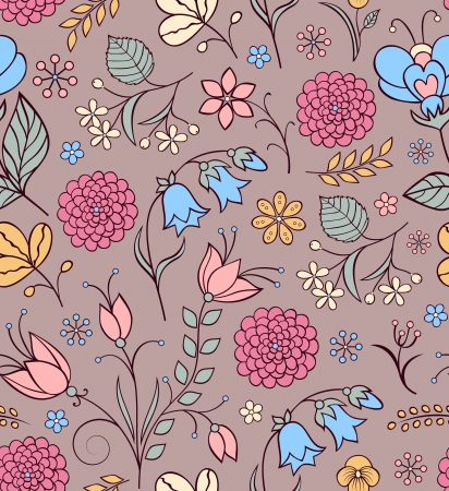 Vector illustration of seamless pattern with abstract flowers Floral background Stock Vector - 18216409