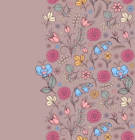 Vector illustration of seamless pattern with abstract flowers Floral background Vector