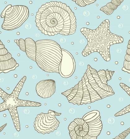 Vector illustration of seamless pattern with ocean shells Stock Vector - 18216410