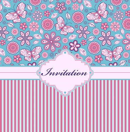 Vector illustration of colorful floral invitation card   or place your text  Vector