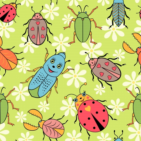 textile industry: Vector illustration of seamless pattern with cute colorful beetles. It can be used for web page background,surface textures,textile industry and others.