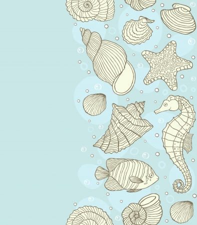 horse fish: Vector illustration of seamless pattern with ocean inhabitants Illustration