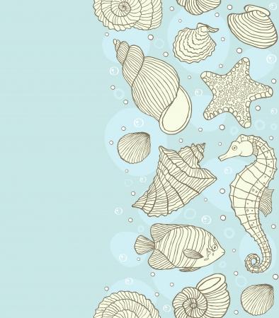 seashell: Vector illustration of seamless pattern with ocean inhabitants Illustration