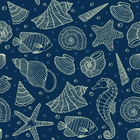 caracolas de mar: Ilustración vectorial de patrón transparente con los habitantes del océano