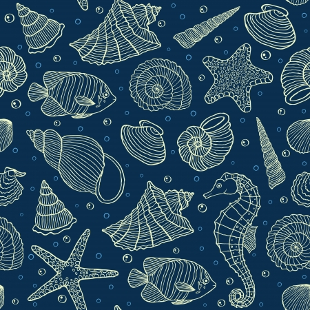 shell fish: Vector illustration of seamless pattern with ocean inhabitants Illustration
