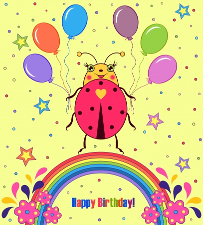 colorful  happy birthday card with cute ladybird Vector