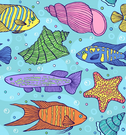 butterflyfish:  illustration of seamless pattern with colorful fishes
