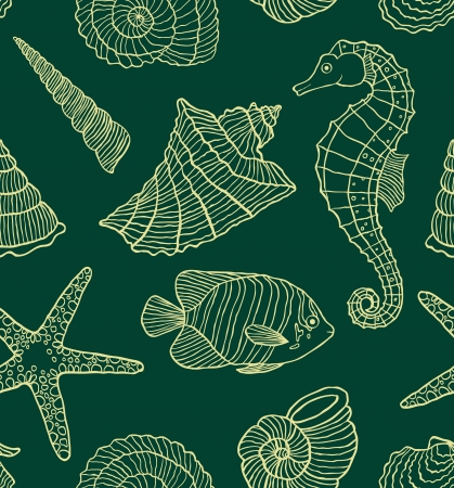 sea horse:  illustration of seamless pattern with ocean inhabitants