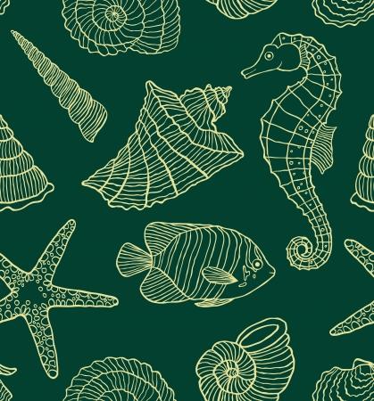 caballo de mar: ilustración de patrón transparente con los habitantes del océano
