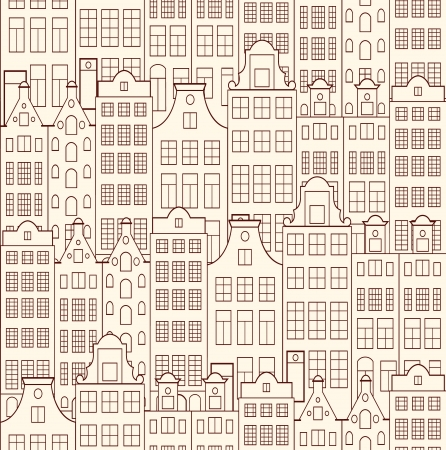 Vector illustration of seamless pattern with old buildings Vector